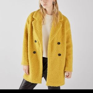 Bershka Curly Wool Teddy Coat Jacket Yellow Small